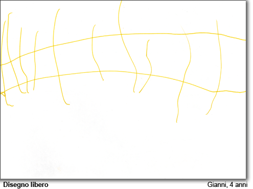 Gianni, 4 anni, disegna liberamente.