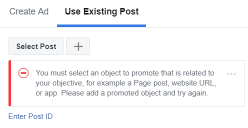 Facebook Ad Use Existing Post