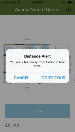alert if you are close enough to tour stop