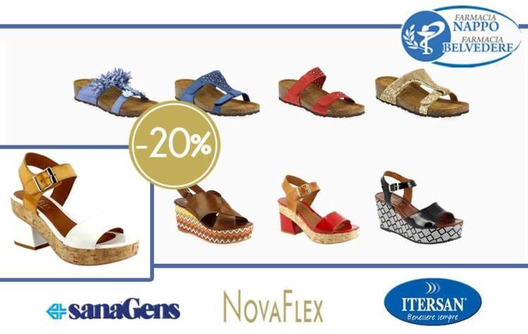 Promo Calzature -20% su tutta la collezione P/E 2018 - Tra i marchi di calzature e pantofole, NovaFlex, sanaGens e Itersan
