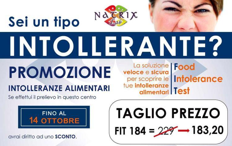 Fino al 14 Ottobre sconto Food Intolerance Test da € 229,00 a € 183,00