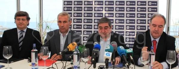 Augusto César Lendoiro en la presentación del acuerdo con Vodafone