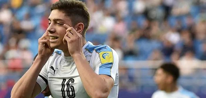 Fede Valverde festeja su único tanto con Uruguay durante el Mundial Sub-20