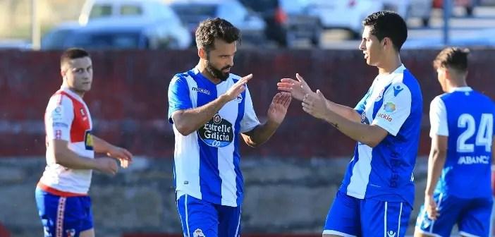 Bruno Gama y Pinchi celebrando gol contra el Arosa
