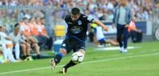 Juanfran centrando al área en el FC Porto vs Deportivo