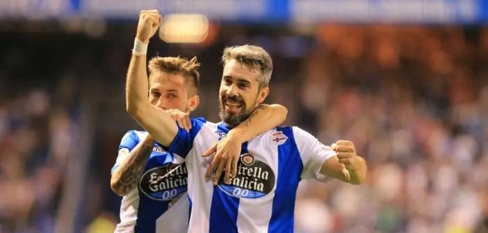 Luisinho y Cartabia celebran un gol contra el Alavés