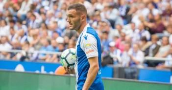 Lucas Pérez en su debut con el Deportivo