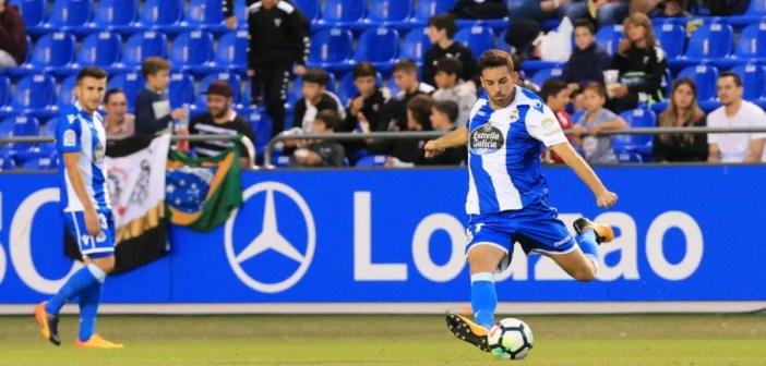 Edu Expósito en un partido amistoso entre Deportivo y Corinthians