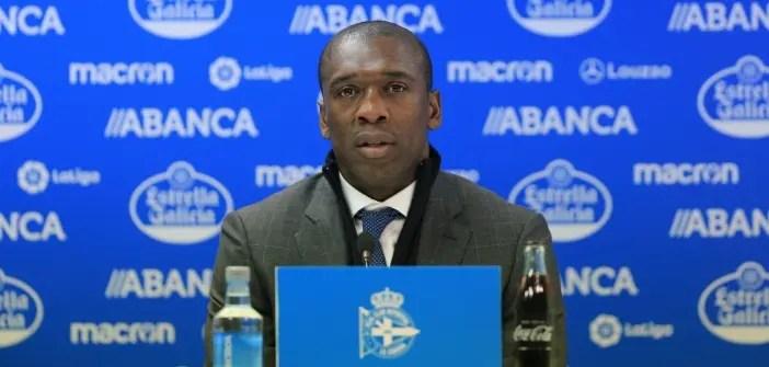 Clarence Seedorf, entrenador del Dépor, en rueda de prensa