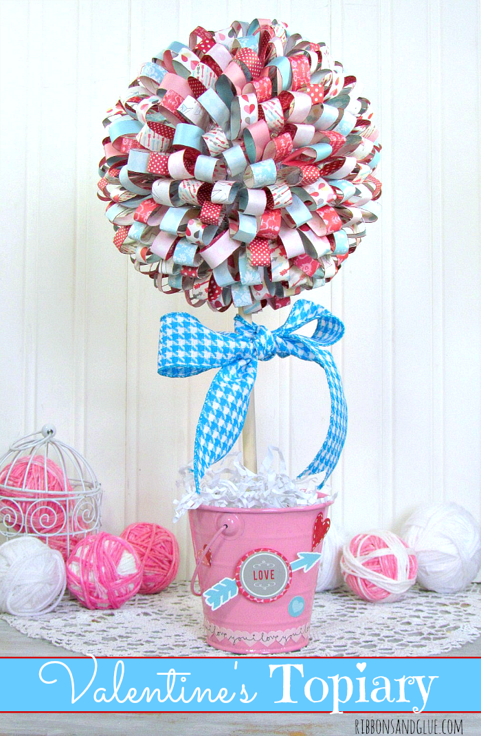 Valentines Paper Ribbon Topiary