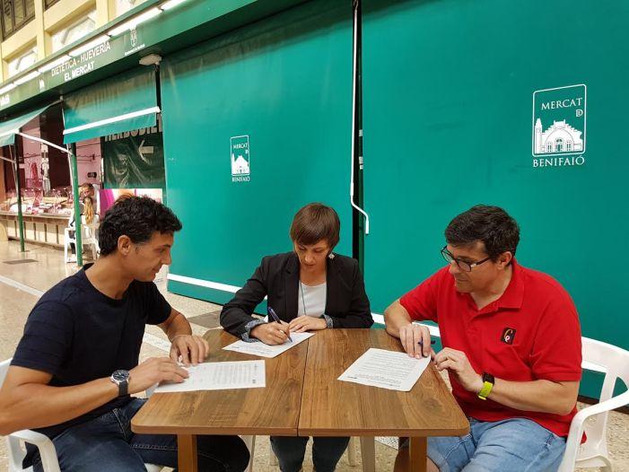 Ayuntamiento, ACEB y Vendedores del Mercado firman un convenio para impulsar acciones encaminadas al fomento del comercio local