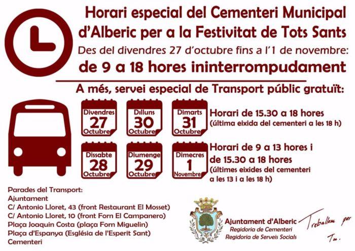 Alberic estableix un servei de transport públic al cementeri per Tots els Sants
