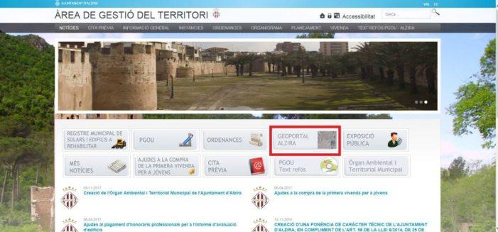L'Ajuntament d'Alzira crea un geoportal on es publica la informació del planejament urbanístic d'Alzira
