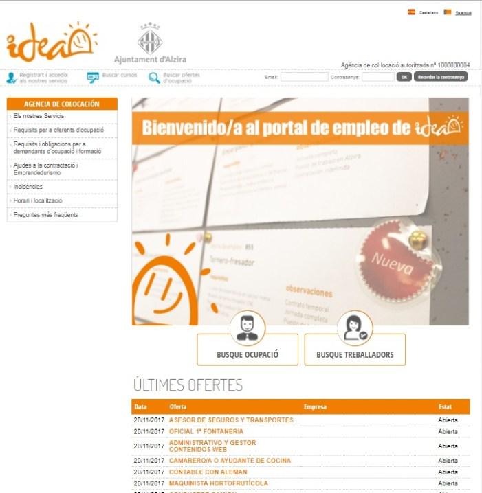 L'Ajuntament d'Alzira, a través d'IDEA, posa en funcionament un nou portal d'ocupació per a facilitar trobar treball
