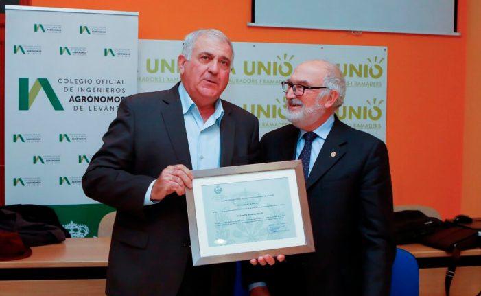 El Colegio de Ingenieros Agrónomos de Levante nombra colegiado de honor al secretario general de LA UNIÓ de Llauradors, Ramón Mampel