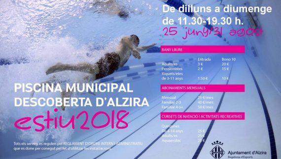 Alzira obrirà la Piscina d'Estiu el 25 de juny