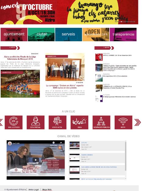 L'Ajuntament d'Alzira renova la imatge de la seua pàgina web municipal