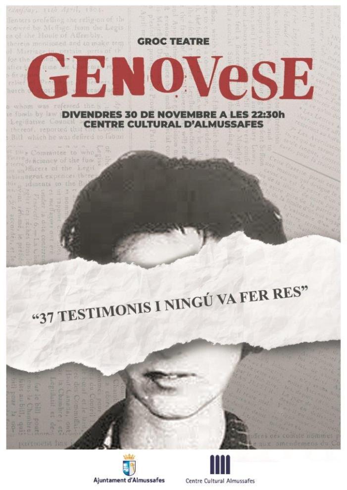 L'obra de teatre 'Genovese' convida a reflexionar aquest divendres a Almussafes sobre la violència de gènere