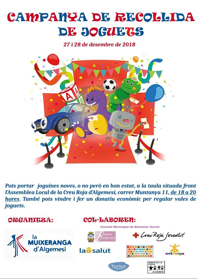La Muixeranga d'Algemesí col·labora en la campanya de recollida de joguets que organitza la Creu Roja