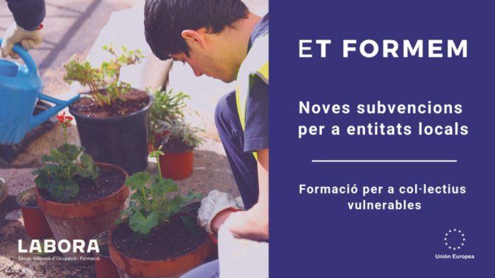 Labora convoca 4,6 milions d'euros en ajudes per a la realització de 'Escoles d'Ocupació Et Formem' destinades a col·lectius vulnerables