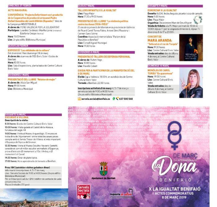 Benifaió celebra la Setmana per la Igualtat amb una àmplia programació