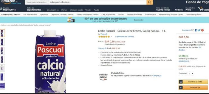 LA UNIÓ denúncia una presumpta venda a pèrdues de llet a través de la plataforma de Amazon