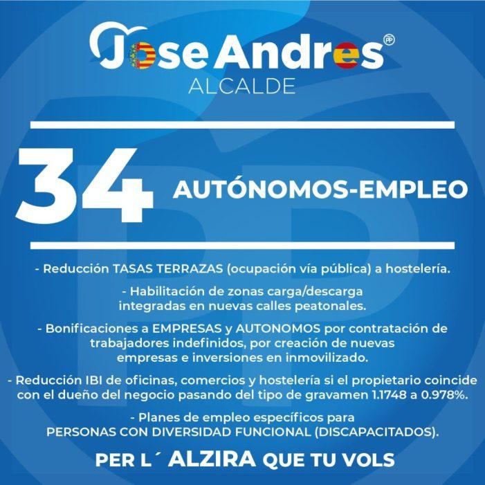 Hernández, candidat al PP d'Alzira, apuesta per la creació d'ocupació i l'ajuda als autònoms