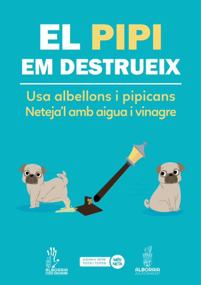 Alboraia llança la campanya 'El pipi em destrueix' per a eliminar l'orina dels carrers