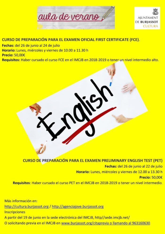 Obertes les matrícules per als cursos d'anglés de l'Aula d'Estiu de l'Institut Municipal de Cultura i Joventut de Burjassot