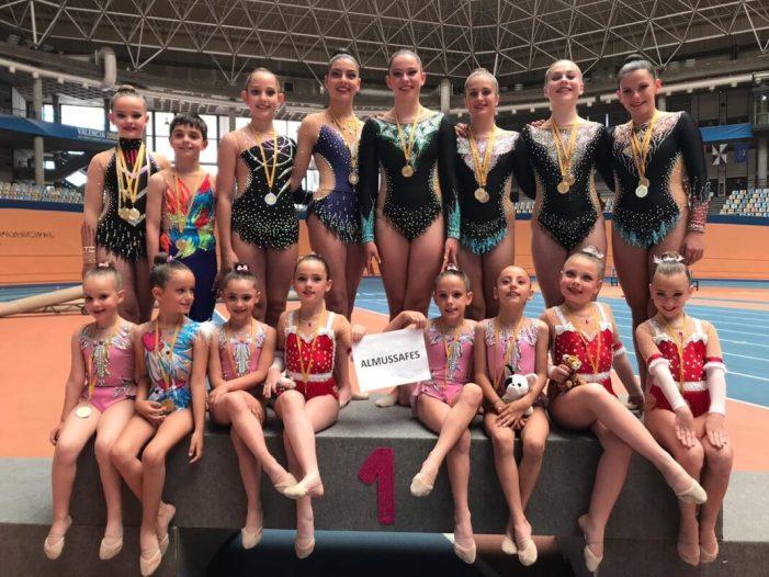 El Club Gimnàstica d'Almussafes aconsegueix tretze medalles en la 1a Fase de l'Interclubs València