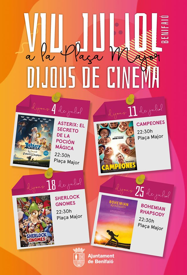 Benifaió fomenta el cinema d'estiu en la plaça major durant les nits dels dijous del mes de juliol