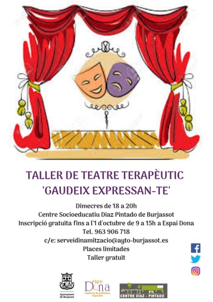 Espai Dóna de Burjassot obri inscripcions per al Taller gratuït de Teatre Terapèutic