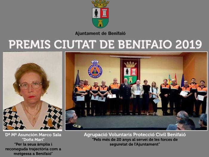 """Mª Asunción Marco Sala i Protecció Civil """"Premis Ciutat de Benifaió 2019"""""""