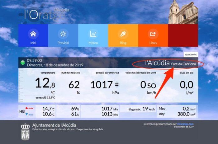 Nova estació meteorològica a l'Alcúdia