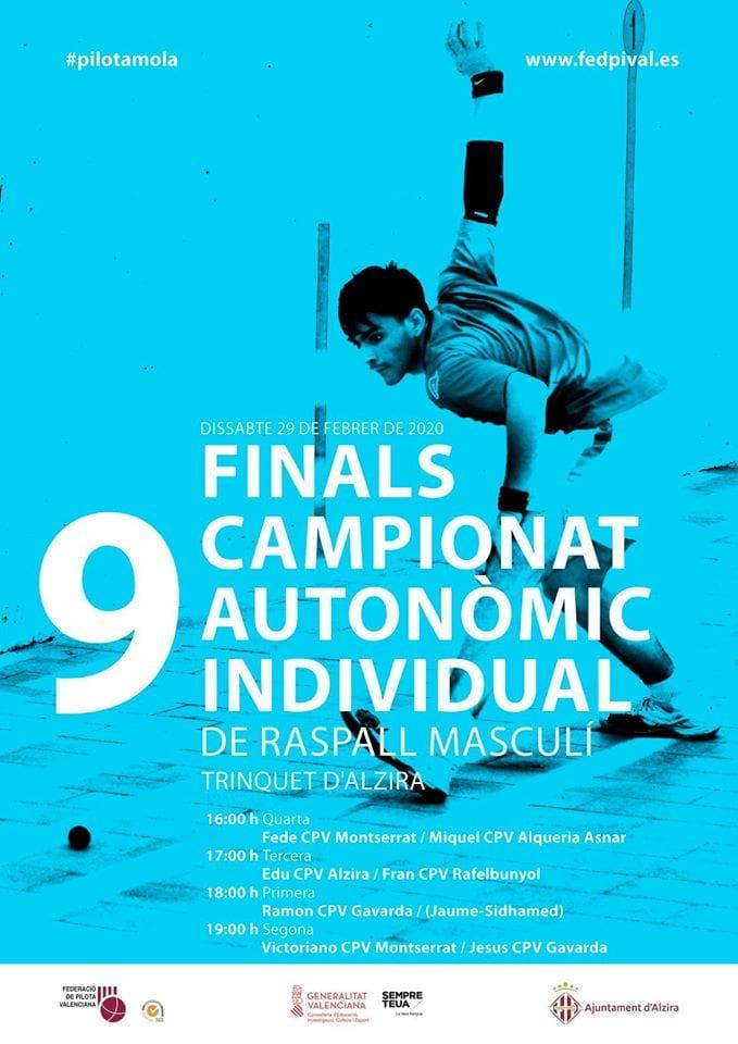 El Trinquet acull la final del Campionat Individual Autonòmic de Raspall Masculí