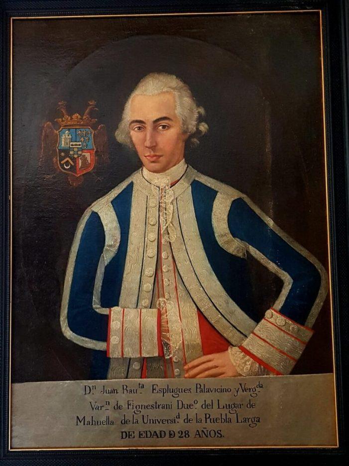 La Pobla Llarga aconsegueix un retrat per a la seua col·lecció museística de D.Juan Bautista Esplugues Palavicino i Vergadá, senyor de la Pobla Llarga.