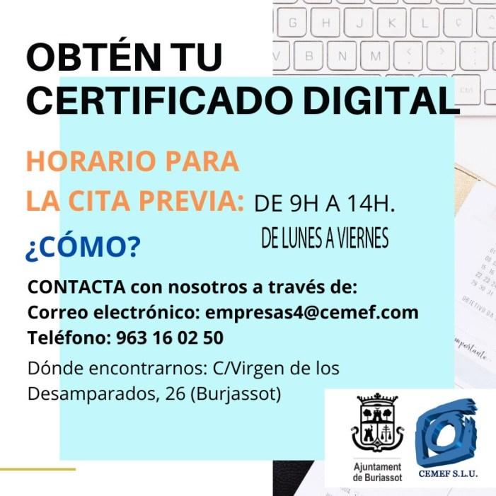 L'Ajuntament de Burjassot, a través CEMEF, posa en marxa l'obtenció del certificat digital