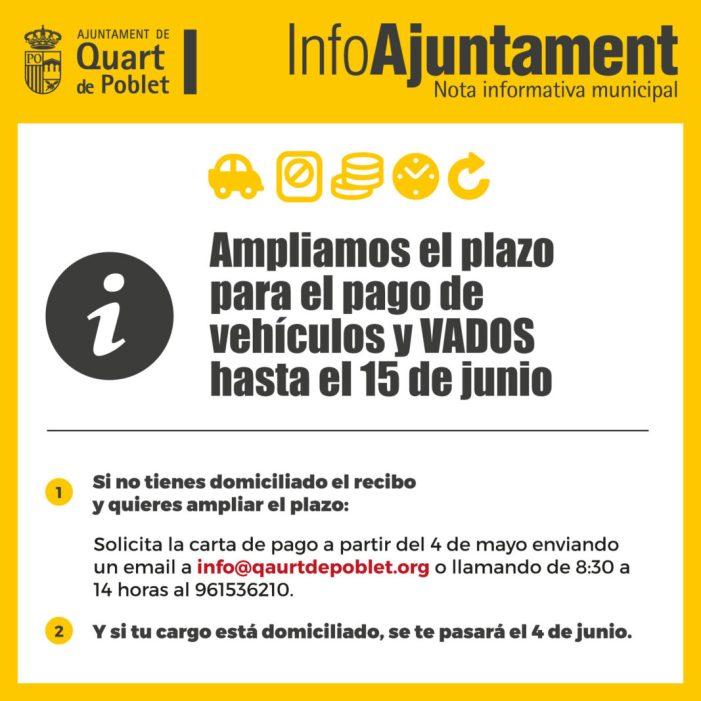 L'Ajuntament Quart de Poblet amplia el termini per al pagament de vehicles i GUALS fins al 15 de juny
