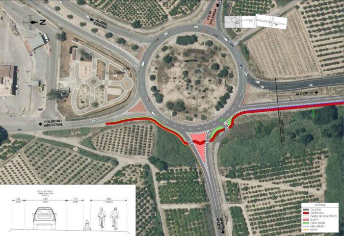 Llum verda a la connexió Alzira-Algemesí amb carril bici