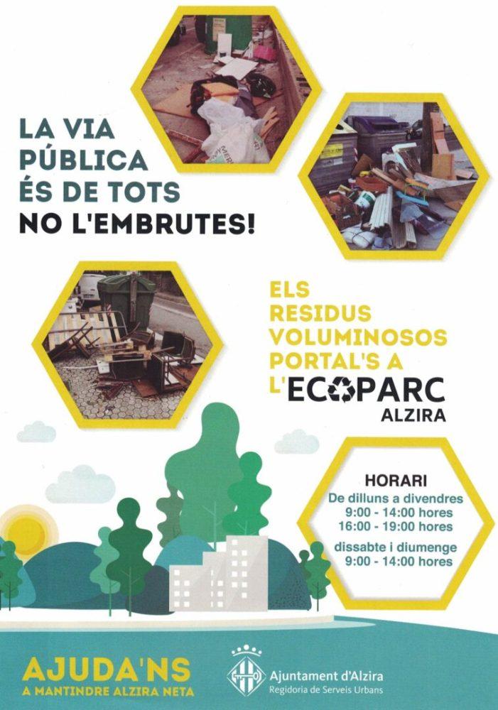 L'ecoparc d'Alzira obri els caps de setmana de 9 a 14 hores per a facilitar la gestió dels residus