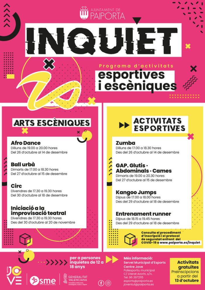 Comença 'Inquiet', el nou programa d'activitats esportives i d'arts escèniques del Centre Jove i l'SME de Paiporta
