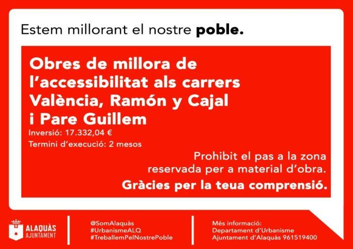 L'Ajuntament d'Alaquàs millorarà l'accessibilitat en el creuament del carrer València amb Ramón y Cajal i Pare Guillem