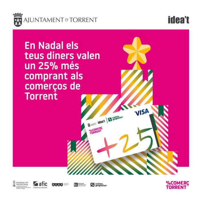 Els torrentins i torrentines realitzen les seues compres nadalenques gràcies a la 'Targeta +25'
