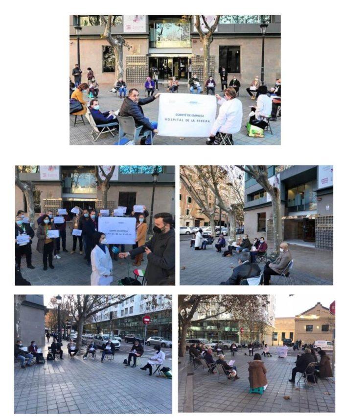 El Comité de Empresa Dpto. de salud de La Ribera,se ve abocado a celebrar sus reuniones ante la puerta de la Conselleria de Sanidad