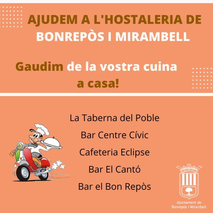 """Bonrepòs i Mirambell dona suport a l'hostaleria local amb la campanya """"Gaudim de la vostra cuina a casa"""""""