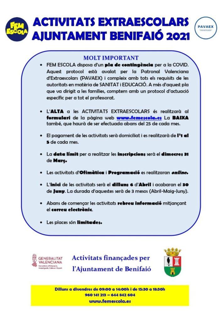 L'Ajuntament de Benifaió ofereix un programa de suport educatiu extraescolar a preu assequible