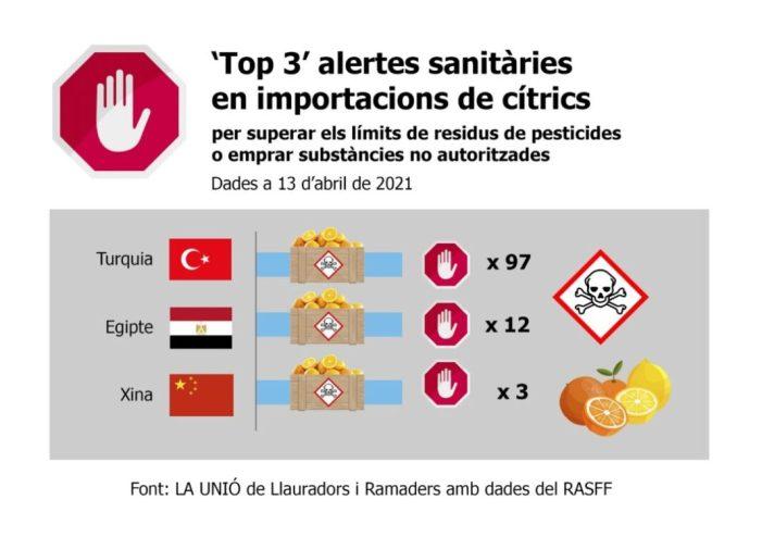 Turquia i Egipte copen les alertes sanitàries a la UE en importacions de cítrics per superar límits de residus de pesticides o emprar substàncies no autoritzades
