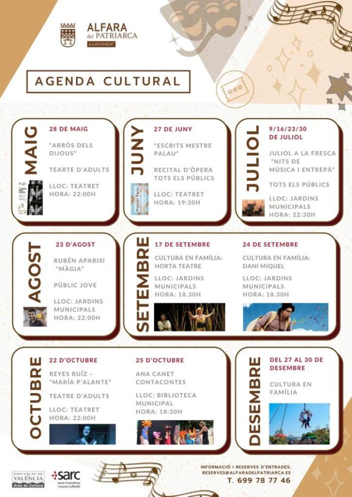 Alfara del Patriarca presenta la seua Agenda Cultural amb activitats gratuïtes programades per a tot l'any