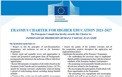 El centre educatiu Joan XXIII de Burjassot obté la Carta Erasmus per a educació superior