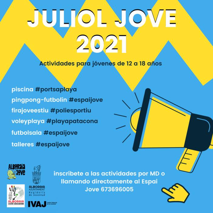 """La Regidoria de Joventut d'Alboraia presenta les activitats de """"Juliol Jove 2021"""""""